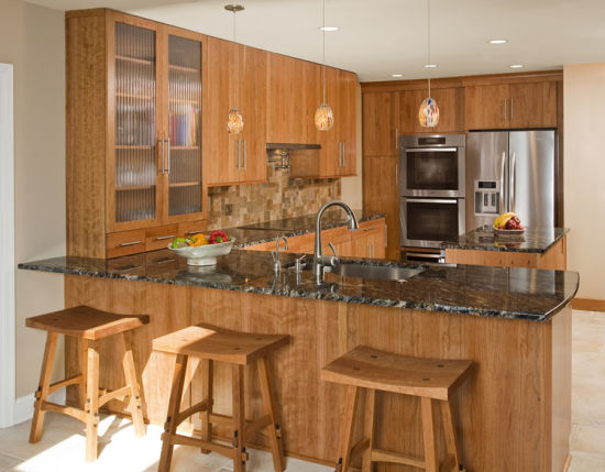 American Wooden Tranditional Kitchen Cabinet with Bar Counter