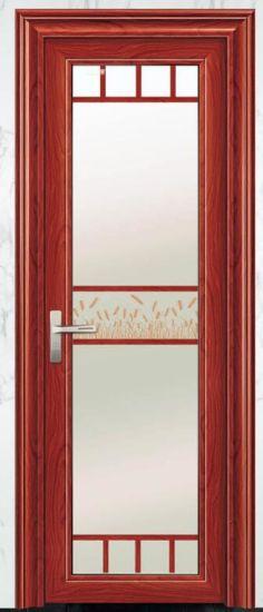 Aluminum Casement Door with Designed Glass for Bathroom