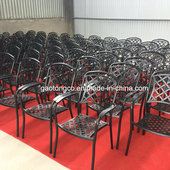 Cast Aluminum Garden Outdoor Furniture 6 Seaters Dining Table and Chairs Patio Set