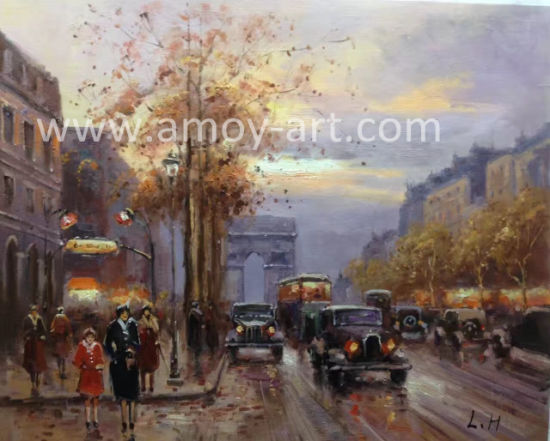 China European City Street Scenes Canvas Wall Art Oil Painting for ...