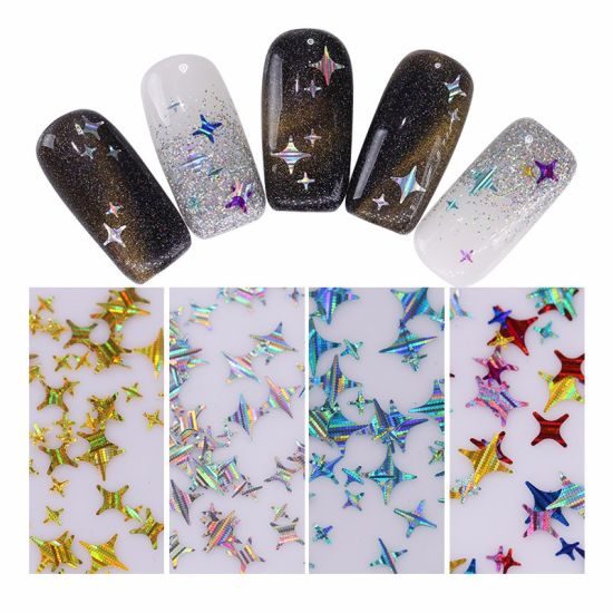 China Holographic Gold Silver Nail Sequins Four Angle Stars Laser