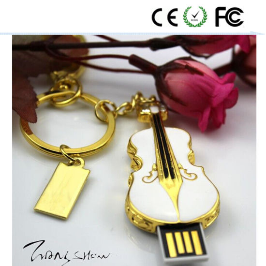 Gold Guitar U Disk Especially USB Flash Drive Pendrive 128MB-128GB pictures & photos
