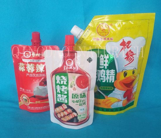 Customized Special Shape Spout Pouch Bag Reusable Food Spout Pouch Stand up Pouch with Spout for BBQ Sauce pictures & photos