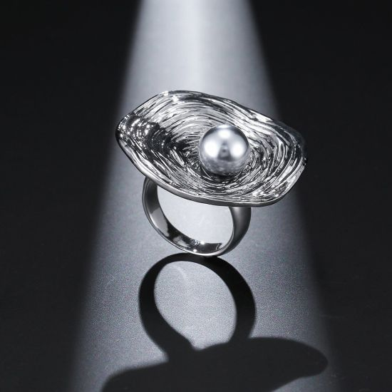 Antique Silver Plated Crystal Black Pearl Body Imitation Jewelry Ring pictures & photos