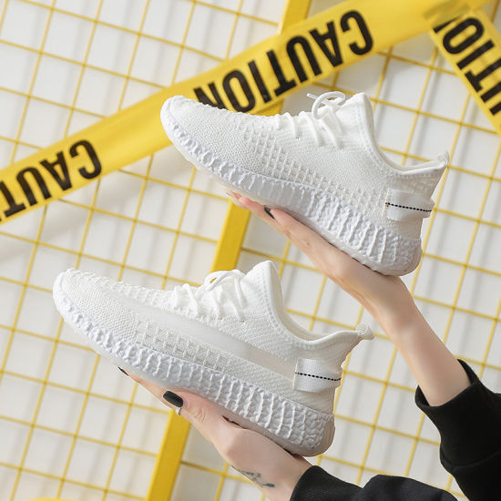 2021 on Sale Women's Sports Shoe Casual White Daddy Shoes Breathable Running Sneakers Students Fly Weave Coconut Shoes 1908