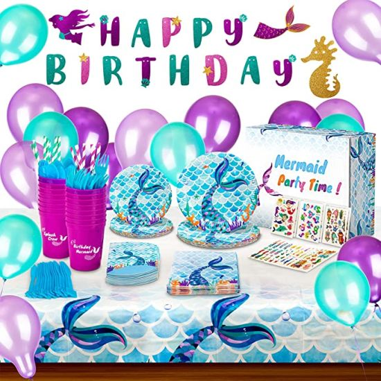 Mermaid Birthday Party Supplies and Decorations Kit - Paper Plates Tattoos Napkins Cups Table Cloth Banner Balloon Straw Cutlery Bag-Girls Party Favors-Serves16