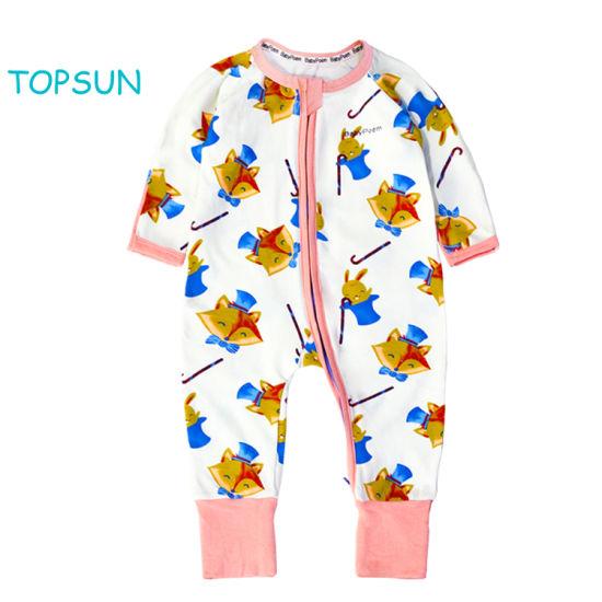 Hotsale 2 Ways Zipper Allover Print Long Sleeve Baby Clothes