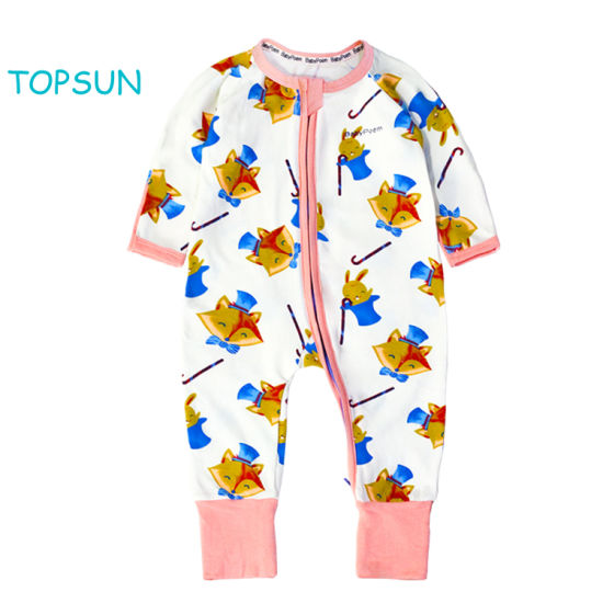 New 2 Ways Zipper Allover Print Long Sleeve Sleepwear Baby Clothes