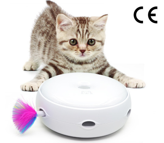 Interactive Cat Toy with Rotating Feather, Smart Pet Cat Toy