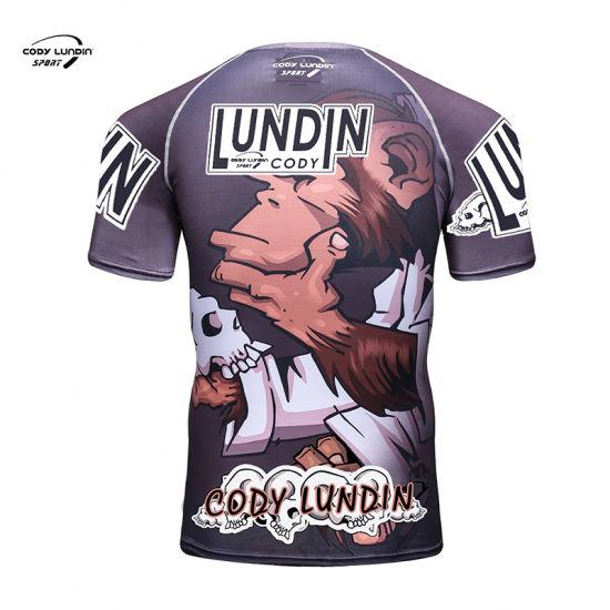 Cody Lundin Sportswear China Supplier Wicking, Second Skin MMA Rash Guard with Digital Printing Short Tshirt for Bodybuilding