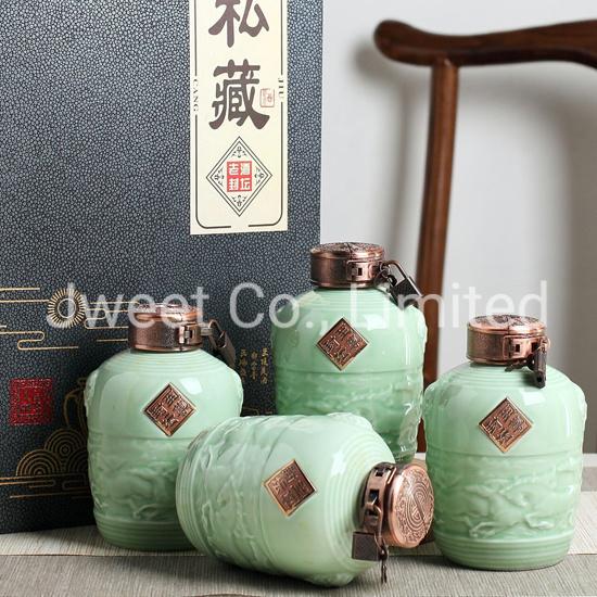 Custom 750ml Design Ceramic Bottle Liquor Wine Bottle