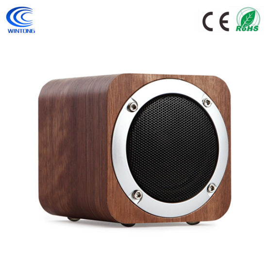 Portable Wood Stereo Bluetooth Mini Speaker with FM Radio, 3 5mm Audio  Input Jack, USB and TF Card Ports, and 5W Stereo Sound