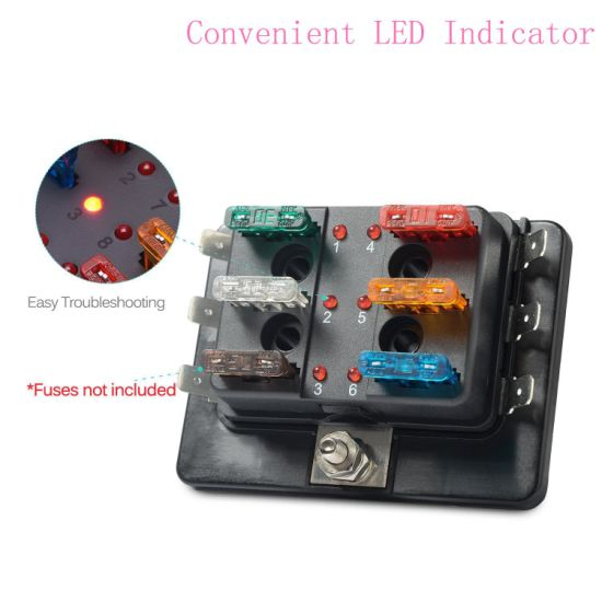 6 Way DC 12~32V Blade Fuse Box Holder with LED Warning Light Kit for Fuse Box Car Lights on 2014 impala brain box, car tool box, car breaker box, car fuel pump, car switch box, car steering shaft, car starter box, car belt tensioner, car frame, car ac fuses, car resistor box, car resistance box, car ignition lock, car fuel line, car glove box, car fan blade, circuit breaker box, 1999 mazda 626 relay box, car wiring harness box, car battery,