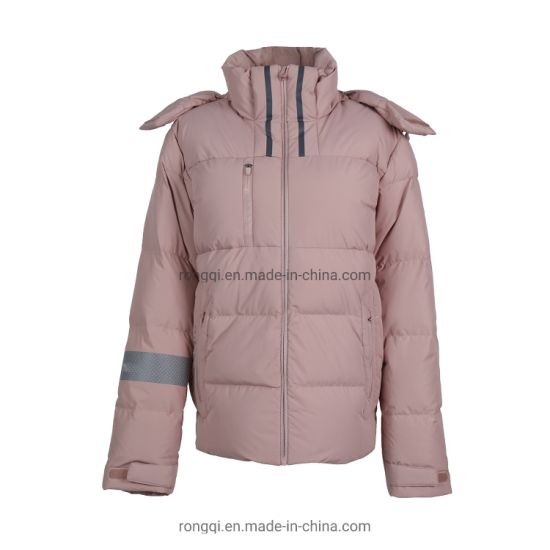 Ladies' Padded Detachable Hood Fashion Casual Refelctive Tape Jacket