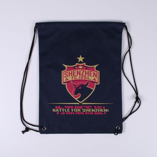 Sports Club Drawstring Backpack Screen Silk Print Logo Polyester Drawstring Bag