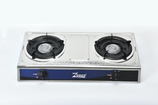 Stainless Steel Double Burner, Blue Fire, Sheet Iron Gas Cooker