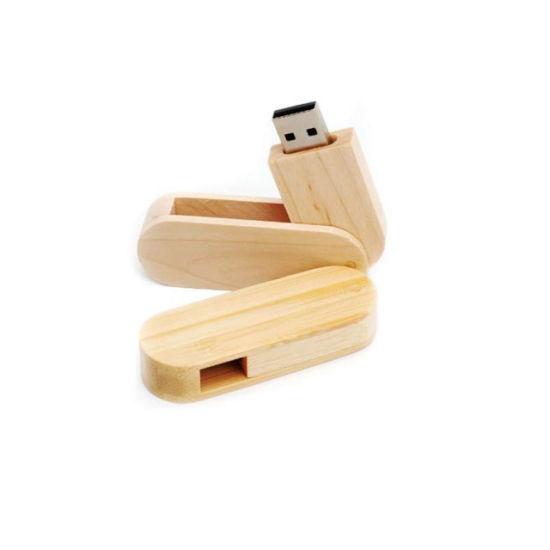 Swivel Wood Flash Drive USB 2.0/3.0 Memory Stick Custom Photographic Studio Logo