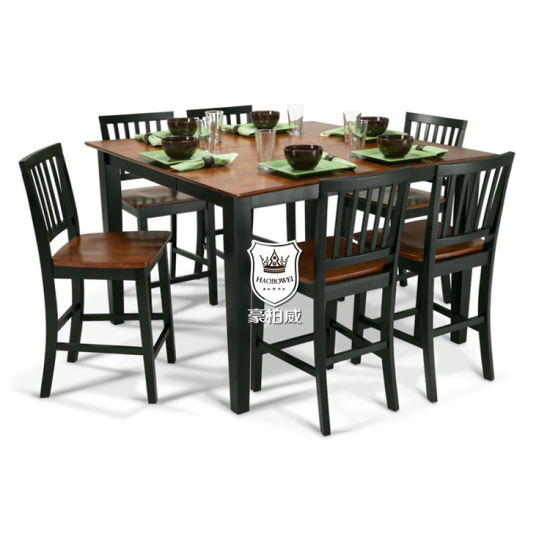Durable Square Pub Timber Veneer Dinner Table pictures & photos