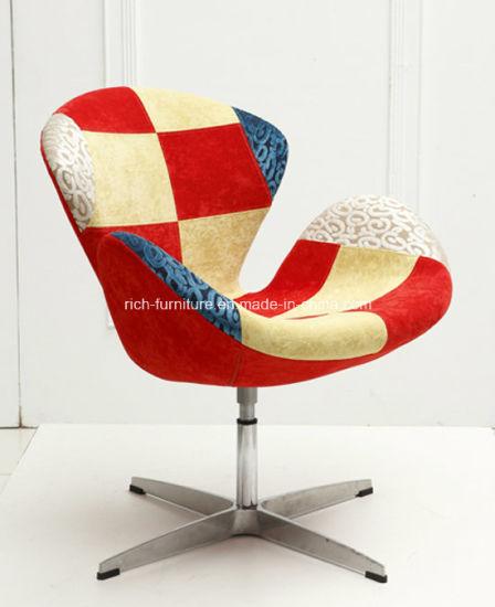 Miraculous Patchwork Restaurant Swivel Swan Chair Bralicious Painted Fabric Chair Ideas Braliciousco