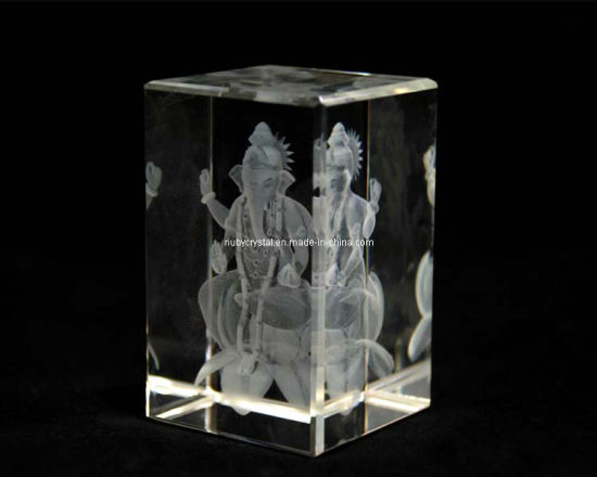 3 Inches Crystal Ganesha on Lotus for Hindu Souvenir (R3016)