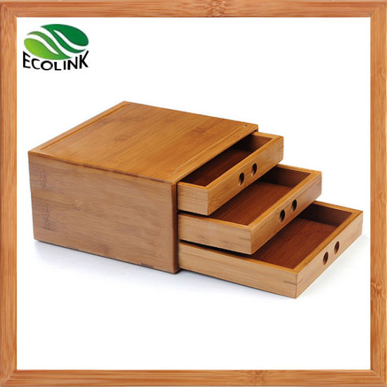 3 Layer Bamboo Tea Storage Tea Box With Drawers