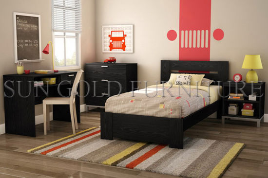 Modern Black Apartment Bedroom Furniture Set For College Student Sz Bf075 Pictures