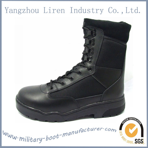 Black Cow Leather Police Tactical Boot