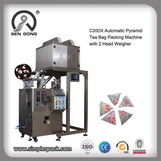 Automatic Pyramid Triangle Tea Bag Packing Sealing Machine with 4 Head Weigher