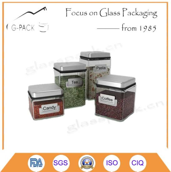 Platting Surface Square Glass Sugar Container with S/S Lid and Logo, OEM Available pictures & photos