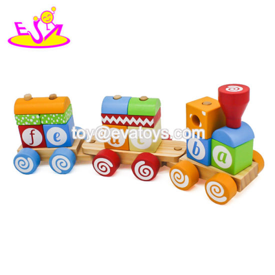 New Arrival Kids Educational Wooden Block Train with ABC W04A393