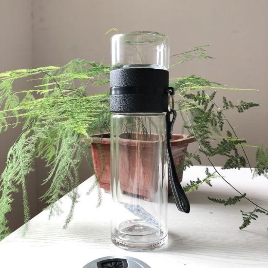 Transparent Glass Cup Portable Tea Bottle Separation Tea Water Double Wall Glass Bottle 2021