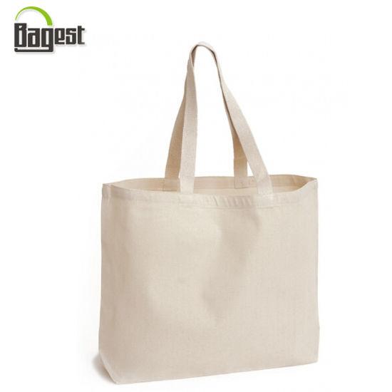 China Supplier Reusable No Printing Blank Plain Cotton Tote Bag
