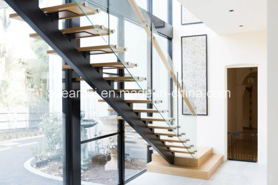 Modern Single Beam Straight Staircase Steel Stair With Tempered Glass  Balustrade