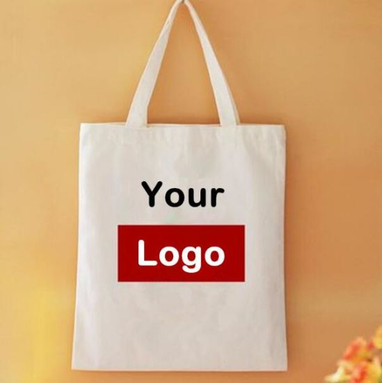 9edbb5aff Natural Cotton Canvas Shopping Bags Custom Tote Bags with Logo Foldable  Reusable Grocery Fabric Tote Bags