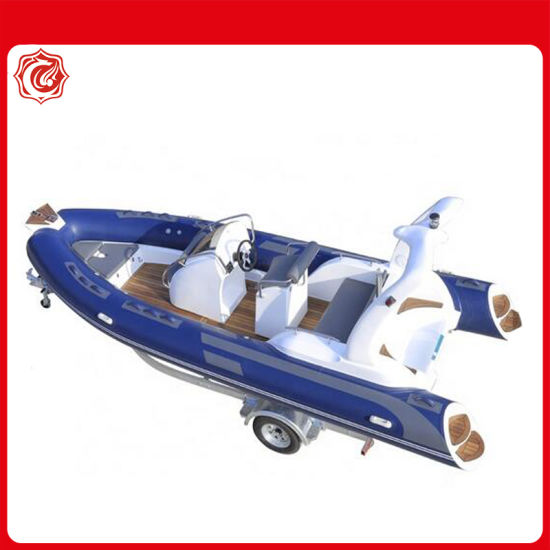 China 2020 Fiberglass Rigid Hull Inflatable Rowing Boat with Outboard Motor