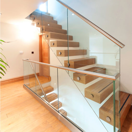 Modern Glass Wood Staircase With Timber Tread 12mm Glass Railing / Floating  Staircase