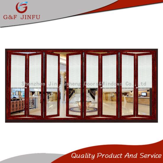 China Wood Grain Aluminum Alloy Double Glazed Folding Door with ...