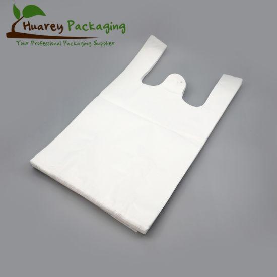 HDPE Plain White Plastic T-Shirt Shopping Bag for Supermarket