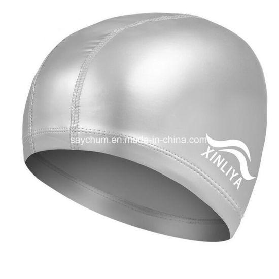 Elastic Waterproof PU Fabric Swim Pool Hat Swimming Cap