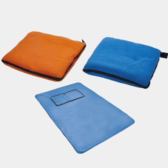Outdoor Foldable Polyester Fleece Blanket with Zipper Closure Picnic Blanket Cushion