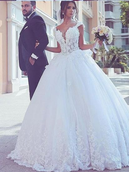 Cap Sleeves Bridal Ball Gown Lace Beads Wedding Dress Wdo79
