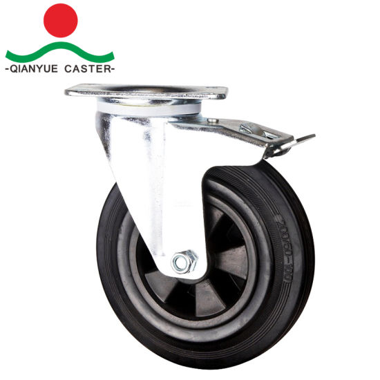 "8"" European Type Industrial Casters, Rubber Waste Bin Caster with Plastic Rim pictures & photos"