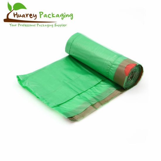 Printing Drawstring Trash Bag on Roll Biodegradable Garbage Bag HDPE LDPE Plastic Rubbish Bag