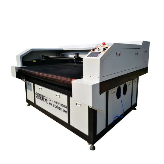 80W/100W/130W CCD Camera Laser Cutting Machine with Auto-Feeding for Printing Fabric Textile Embroidery
