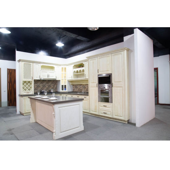 China American Red Oak In White Kitchen Cabinet Modern Euro Style