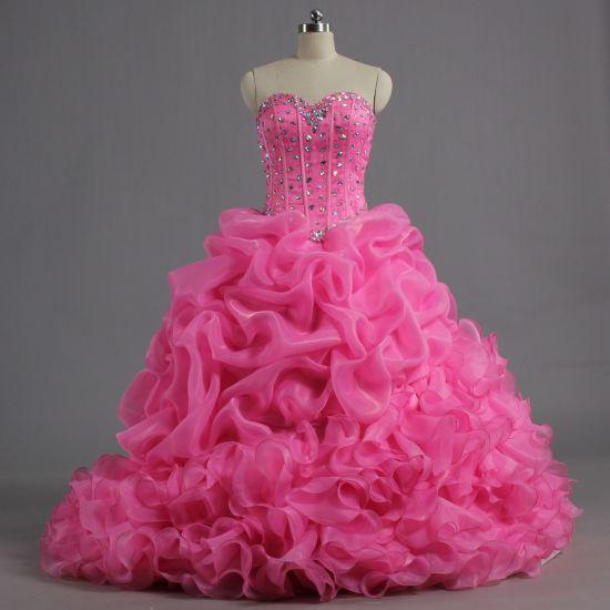 E635 Girls Strapless Pink Bead Ruffle Organza Ball Gown Quinceanera Dresses