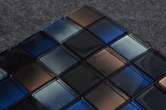 Cool Blue Azure Glass Mix Mosaic Tile Wall Backsplash
