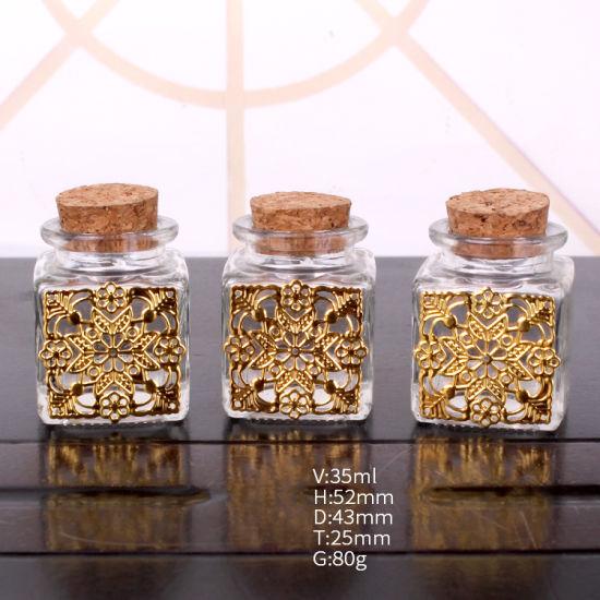 1oz Square Glass Storage Mason Jar with Cork Lid