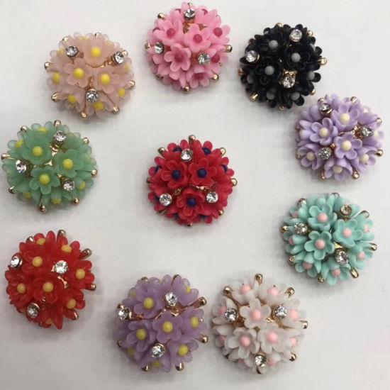 Colorful Flower Metal Rhinestone Shank Button Diamond Button for Wedding Invitations