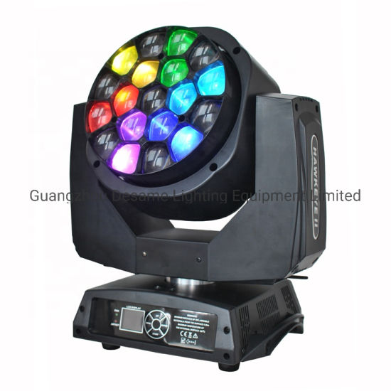 Bee Eye 19PCS 15W RGBW 4in1 Zoom LED Wash Moving Head Stage Light